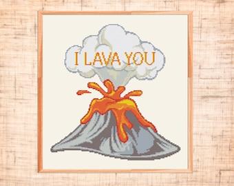 Modern cross stitch pattern I lava you xstitch Volcano cross stitch Mountain Anniversary xstitch chart Counted crossstitch pattern PDF