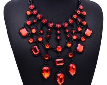 Red Crystal Pendant Statement Necklace