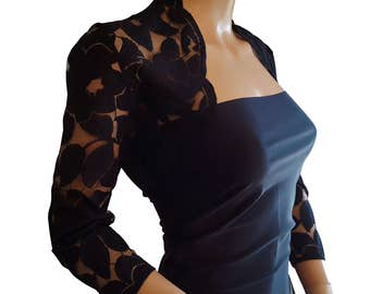 Womens Black lace Bolero, Jacket  with 3/4 or short sleeves UK sizes 8 to 18