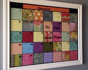 Dry Erase Monthly Calendar, Reusable Planner, Framed Family Calendar, Dorm Room, Home Décor, Wall Hanging, Handmade Calendar, Unique Gift