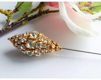 craftoholictamina Sale~6 Inch Long Vintage Inspired Pine Cone Imitation Rhinestone Hat Pin~Handmade~Limited Edition