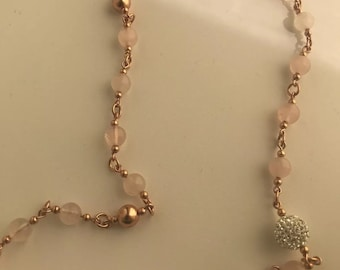 Von Treskow Long Pink Quartz , Rose gold filled Beaded Necklace
