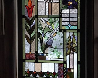 """Wood Framed Stained Glass Panel 45"""" x 34"""""""