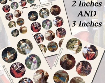 John William Waterhouse Paintings Printables, EXTRA LARGE CIRCLES, 1.5 inch, 2 inch, and 3 inch circles (38mm, 50mm, and 75 mm)