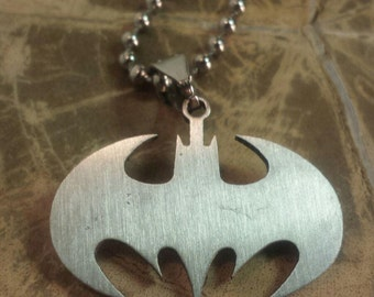 Batman Necklace, Steel Batman Necklace, Batman Keychain, Stainless Steel Batman Necklace, DC Comic, Fandom Necklace, Fandom Keychain