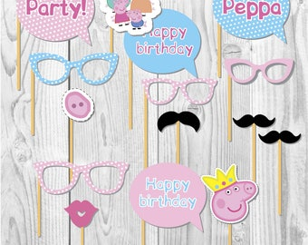 Peppa pig printable party props, peppa party, party paper decoration, Birthday Party Package, printables, printing party decor, pig