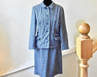 SALE 30% OFF  1960s Tailored Wool Houndstooth Skirt Suit - Blue and Gray Houndstooth  Woman's Suit