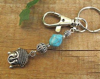 Buddha keychain Buddha key chain turquoise keychain gemstone bag charm meditation yoga keychain Buddhist accessory Buddha spiritual gift.