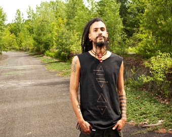 Elemental Symbols Open Sided Tank or T Shirt Style Stained Apocalyptic Shirt