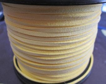 1 meter of 3 mm canary yellow suede cord