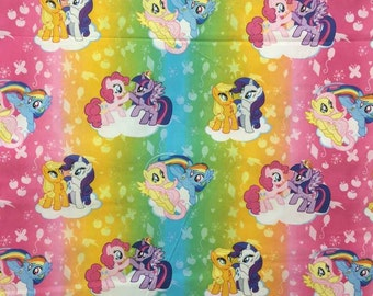 My Little Pony Rainbow MLP Horse Girls Fabric Pink Blue Green Rainbow Stripe Cotton Fabric By the Yard HY t5/35