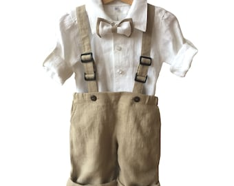 Ring bearer linen outfit, Boys linen suit white beige, Boys baptism suit,  christening set, festive set, Boy Blessing Outfit, linen shirt