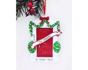 Red Door Personalized Christmas Ornament- New Home Ornament - Red Door - Hostess Gift - Custom Name or address