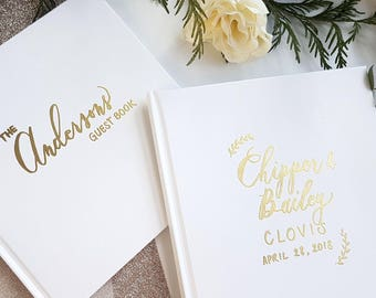 Personalized Wedding Guest Book with Gold Embossing /Handcrafted Simple and Elegant White Hardbound Book / Newlyweds Advice Book / Baby Book
