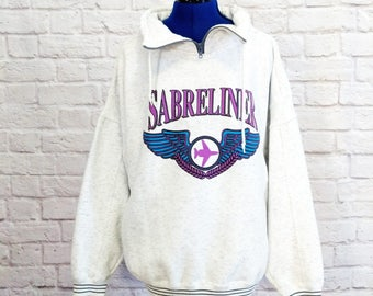 Vintage Sabreliner Sweatshirt 80s Private Jet Set Size Large L Graphic Aviation