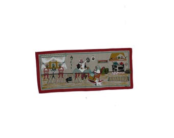Sweet vintage retro Christmas 60s Wall hanging Tapestry with old couple & their cats. Designed by May Bühler, Sweden