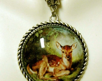 Fawn in a glade pendant and chain - WAP25-006