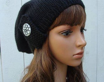 DIY - Knitting PATTERN #45: Womens Slouchy Knit Hat with side strap and button pattern, Size Teen/Adult - PDF Digital Pattern