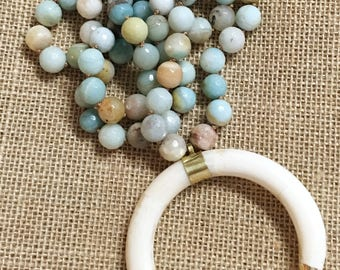 OX bone necklace with 12mm Amazonite