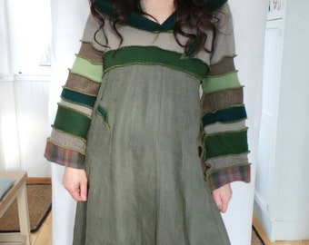 Pixie hood. Elven dress. Upcycled sweaters. Lagenlook clothing. Hippy clothing. Boho clothing. Lagenlook dress. Pixie hooded dress.