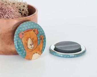 Brown Bear Magnet, Woodland Forest Animals, Grizzly Bear Magnet, Animal Button Magnets