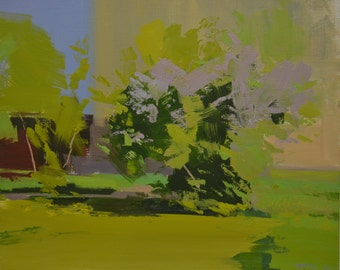 Contemporary landscape painting, abstract landscape art, Bold green painting original oil artwork