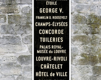 SMALL Paris Subway Sign, Paris Subway Art, French Sign, Paris Poster, Paris Wall Decor, Travel Lover Gift, Bus Scroll, Travel Art, 12x36.