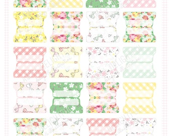 SMALL SIZE Printable Spring Planner File TABS - Digital File Instant Download- floral, gingham, check, pastels Home Management, organization