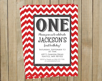 Red Chevron First Birthday Invitation, One, Custom Digital File, Printable