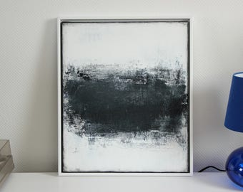Abstract art, acrylic painting, 50 x 60 cm, framed, black and white