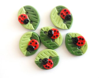 Button Summer Leaves with Ladybugs handmade polymer clay buttons ( 6 )