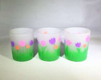 Set of 3 Hand Painted Spring Flowers Votive Candle Holders - Spring Frosted Glass Candle Holders - Spring Tulips Candle Holders