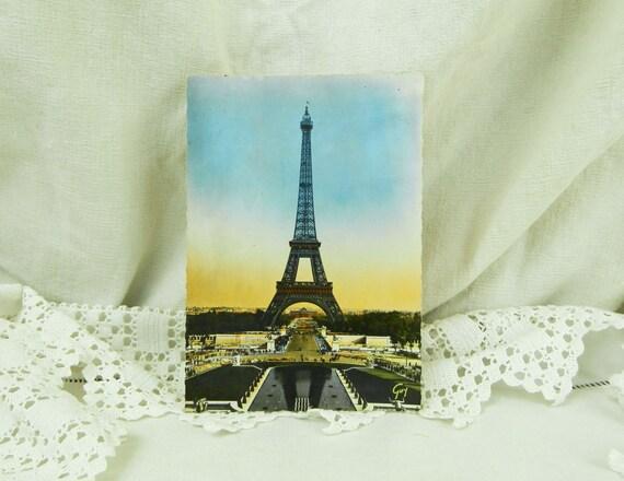 Vintage Unused Mid Century Colored  Black and White Postcard of the Eiffel Tower in Paris France,  Parisian Retro Vintage Home Decor