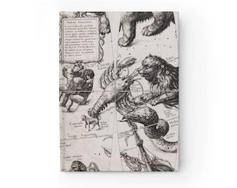 Antique Zodiac Journal Ruled Line Leo Cancer Gemini Virgo Hardcover Journal Blank Book Mythological Celestial Constellations Gif