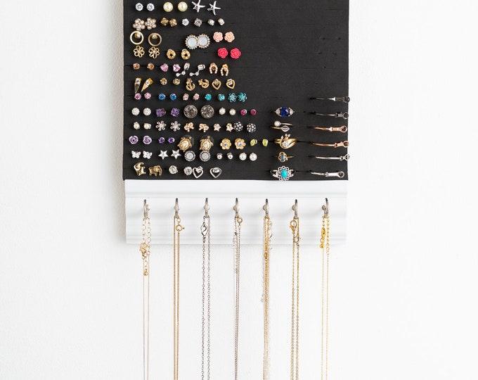 Hanging Jewelry Organizer - White Wood Frame -Jewelry Organizer - Earring & Necklace Display