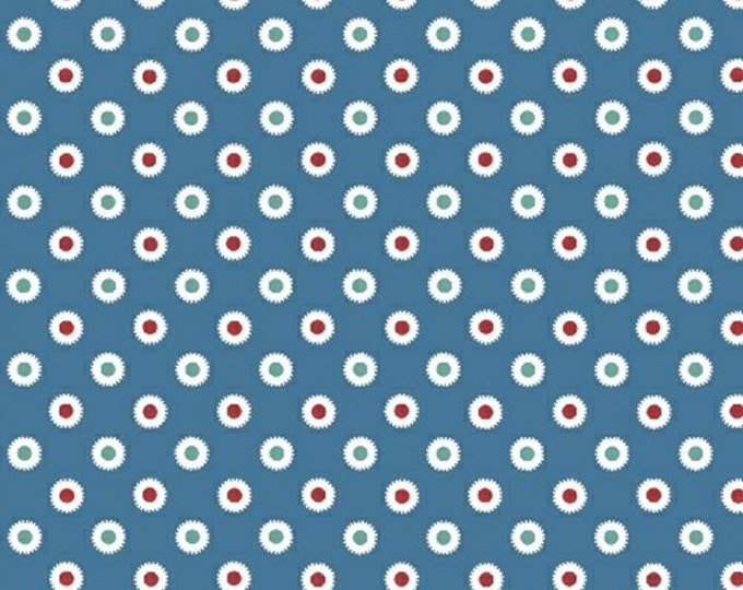 Half Yard Hazel - Dot in Blue - Cotton Quilt Dots Fabric - Allison Harris of Cluck Cluck Sew for Windham Fabrics - 40841-5 (W3419)