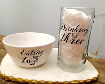 Pregnancy announcement Bowl & mug set, Eating for two, Drinking for three