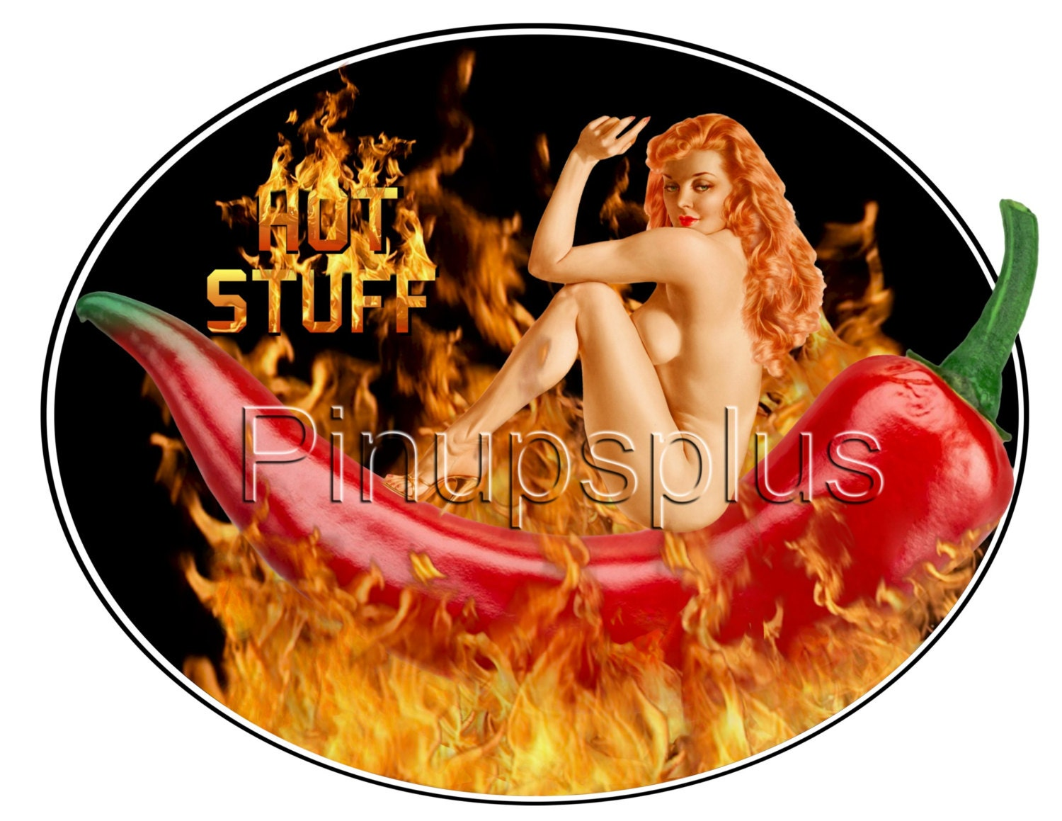Red Hot Flaming Chili Pepper Sexy Nude Pinup Girl Watertersde-8343