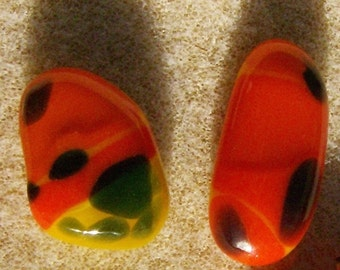 Fused Glass Cabochons - Lot of 2, Handmade Free Form Orange, Black, Yellow  & Green by JewelryArtistry - DC456
