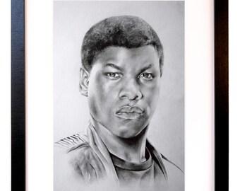 Finn, Star Wars: The Force Awakens Pencil Sketch by Ella Rowe.