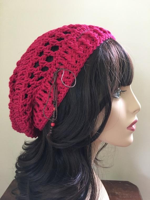 Rote Baumwolle Slouchy Frühling Hut häkeln Damen Hut Hut