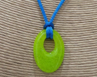 Lime Green Oval Necklace, Fused Glass Donut, Bright Green, Neon, Fused Glass Jewelry, Ready to Ship - Florence - -5