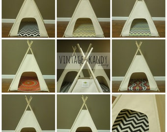 """Dog/Cat Teepee Pet Tent -Small 24"""" base Natural Canvas PICK YOUR PILLOW  Ready to Make or Custom Order it - Tenthouse Suite by Vintage Kandy"""