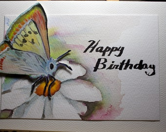 Hand Painted Greeting Card, Happy Birthday, Blank Card, Original Watercolor Card,  Daisy and Butterfly,  Nature, Free Shipping Active