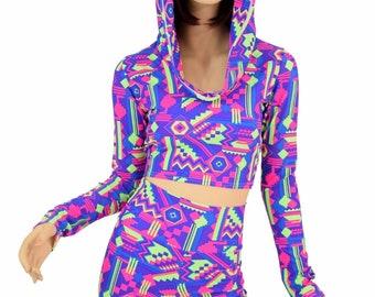 Neon Lime & Purple Aztec Print Long Sleeve Crop Hoodie w/Self-Lined Hood and High Waist Shorts Set Rave Festival Clubwear 151559
