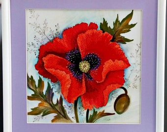 Wall Décor  Wall Hangings  Poppies  are the  most beautiful wildflowers , embroidery Design, Modern Embroidery, handmade, batic, unique gift