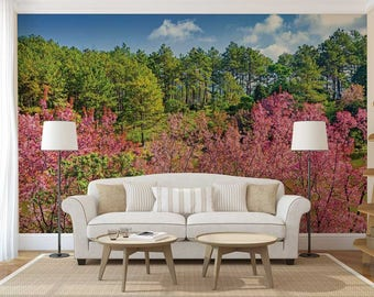 Wall Mural Decal Forest, Pink Trees Wallpaper, Forest Wallpaper, Woods Wall Decal, Woods Wall Mural