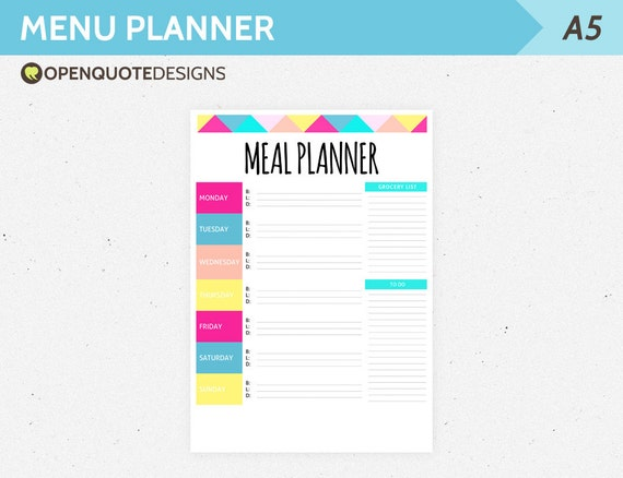 A Filofax Printable Meal Planner Weekly Menu Planner