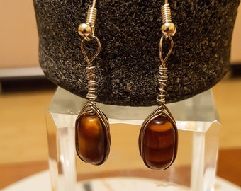 Tiger eye earrings / brown earrings / wrapped earrings / silver earrings / dangle earrings