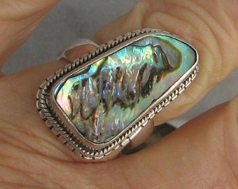SALE Size 7  1/4  sterling and abalone ring